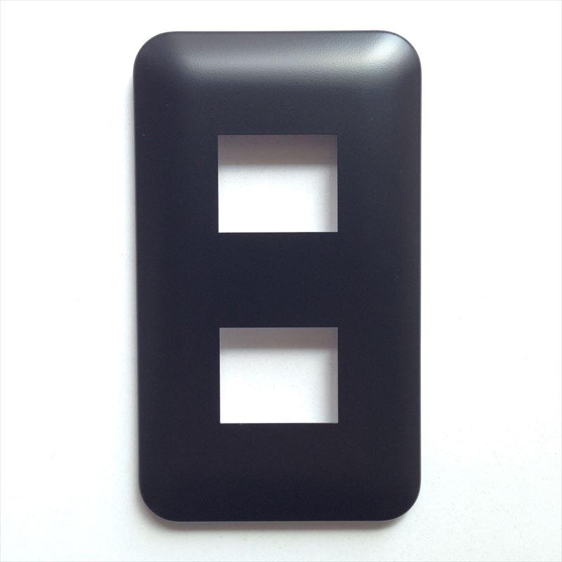 コンセントプレート(2口) Pシリーズ 黒 正面